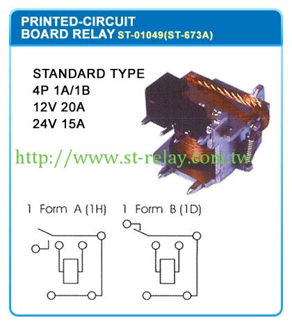 STANDARD TYPE  4P 1A/1B  12V 20A  24V 15A