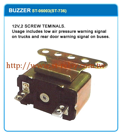 12V 2 SCREW TEMINALS. USAGE INCLUDES LOW AIR PRESSURE WARNING SIGNAL ON TRUCKS AND REAR DOOR WARNING SIGNAL ON BUSES.