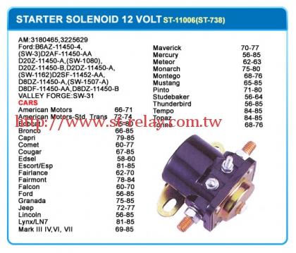 STARTER SOLENOID 12 VOLT  AM:3180465  3225629  FORD:B6AZ-11450-4  (SW-3)  D2AF-11450-AA  D20Z-11450-A  (SW-1080)  D20Z-1